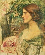 Portrait of a Lady in a Green Dress, or The Bouquet (Study) c.1908