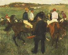 Racehorses (Leaving the Weighing), c.1874