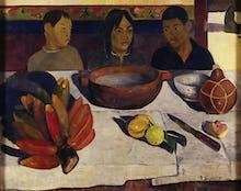 Tahitian boys at table