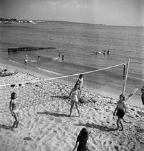 Volleyball on beach, South of France 1949