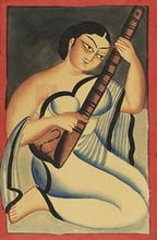 A courtesan playing the sitar, c.1900