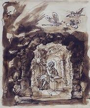 Alexander Pope in his grotto