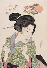 Geisha smoking a pipe