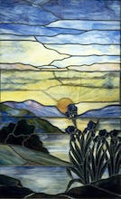 Stained Glass Window with Iris and Sunset, c.1900