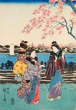 Women travelling on the beach of Futami