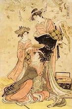 Women writing poems on flowers