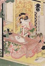Yoshiwara woman painting a fan