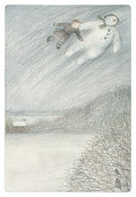 The Boy and The Snowman can be seen flying up into the night sky