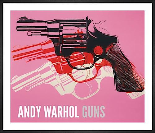 Gun, c.1981-82 (black, white, red on pink) by Andy Warhol