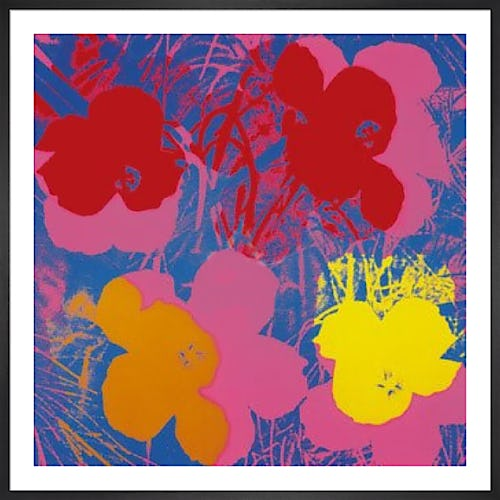 Flowers c.1964 ( red, yellow, orange on blue) by Andy Warhol