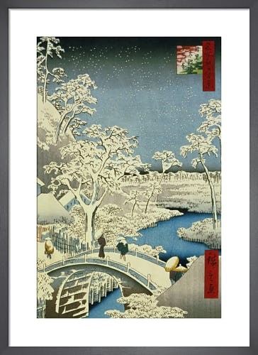 Drum Bridge and Setting Sun, Hill at Meguro, 1857 by Ando Hiroshige