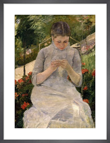 Young girl in the garden, woman sewing by Mary Cassatt