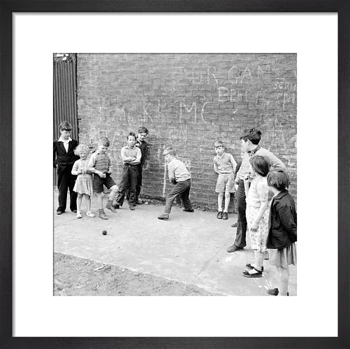 Street cricket, Govan 1956 by Mirrorpix