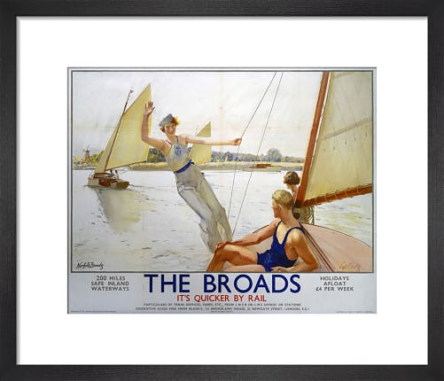The Broads - Girl Waving from Boat by Anonymous
