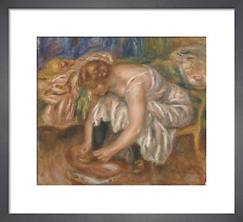 Woman tying her shoe by Pierre Auguste Renoir