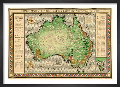 Empire Marketing Board, Map of Australia by Macdonald Gill