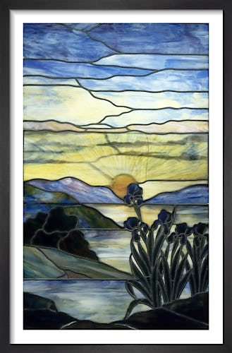 Stained Glass Window with Iris and Sunset, c.1900 by Louis Comfort Tiffany