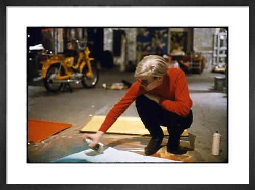 Andy with Spray Paint and Moped, The Factory, NYC, circa 1965 by Nat Finkelstein