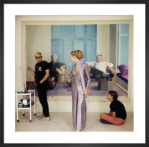 David Hockney, Maudie James & Peter Schlesinger, Vogue December 1968 by Cecil Beaton