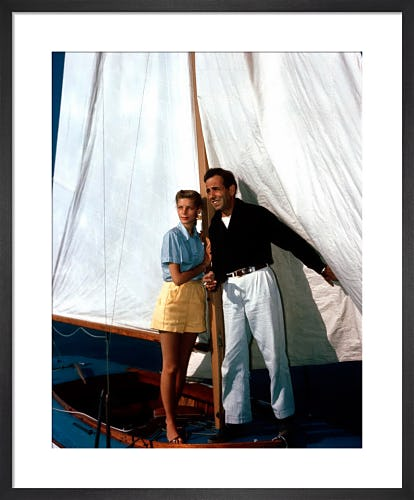 Lauren Bacall and Humphrey Bogart on the Sirocco c.1945 by Hollywood Photo Archive