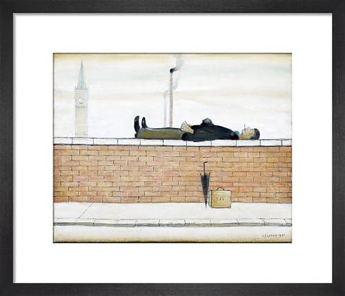 Man Lying On A Wall, 1957 by L.S. Lowry