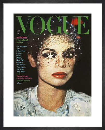 Bianca Jagger, Vogue March 1974 by Eric Boman
