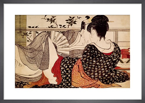 Lovers in an upstairs room by Kitagawa Utamaro I
