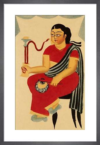 Seated courtesan smoking, c.1900 by Kali Charan Ghosh