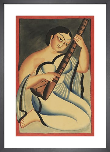 A courtesan playing the sitar, c.1900 by Nibaran Chandra Ghosh