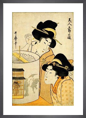 Twisting the shadow lantern by Kitagawa Utamaro