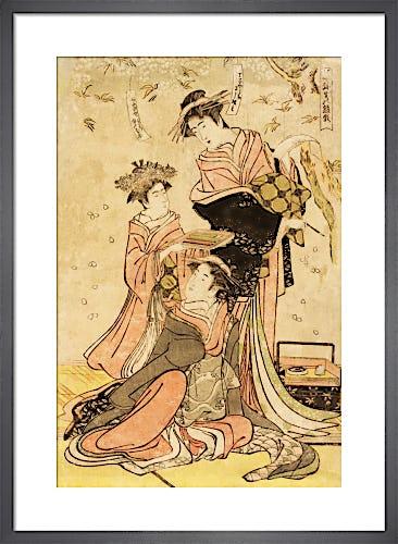 Women writing poems on flowers by Katsukawa Shunshô