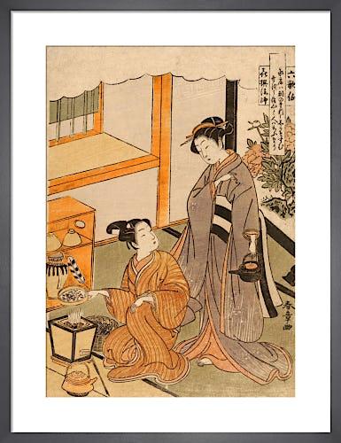 Young lovers preparing tea by Katsukawa Shunshô