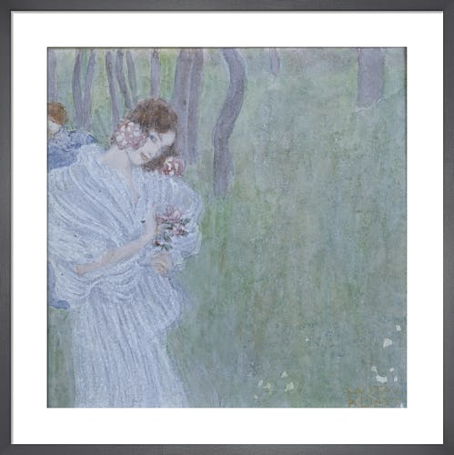 Girl with Flowers in Hand at the Edge of a Forest 1897 by Gustav Klimt