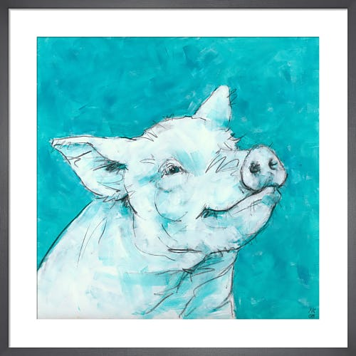 Pig on Turquoise by Nicola King