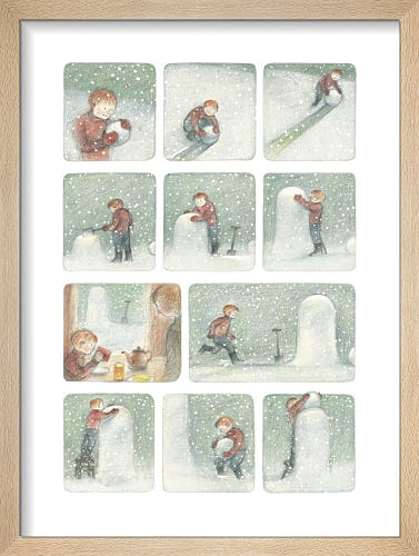 The Boy begins to build The Snowman, pausing briefly for breakfast by Raymond Briggs