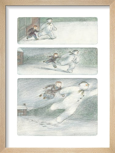 The Boy and The Snowman leave the ground and begin to fly by Raymond Briggs
