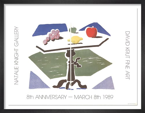 Apple, Grapes, Lemon on a Table (1989) by David Hockney