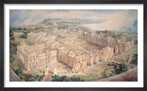 Bird's-eye view of [John Soane's design for] a Royal Palace for Green Park by Joseph M Gandy