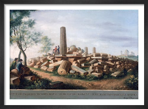 View of the Remains of an Ancient Temple (supposed to be of Hercules) at Agrigentum (2 of 6) by Luigi Mayer