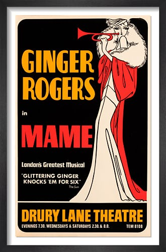 Ginger Rogers in Mame by Rare Theatre Posters