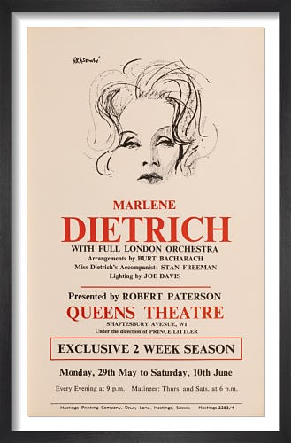 Marlene Dietrich with full London Orchestra by Rare Theatre Posters