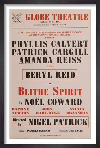 Blithe Spirit by Rare Theatre Posters