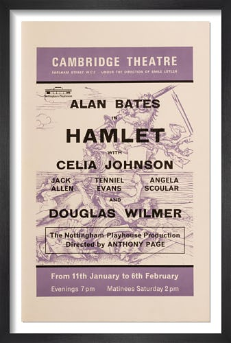 Alan Bates in Hamlet by Rare Theatre Posters