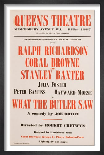 What The Butler Saw by Rare Theatre Posters