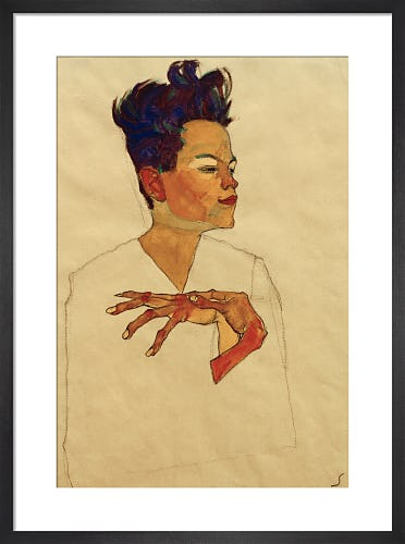 Self Portrait with Hands on Chest, 1910 by Egon Schiele