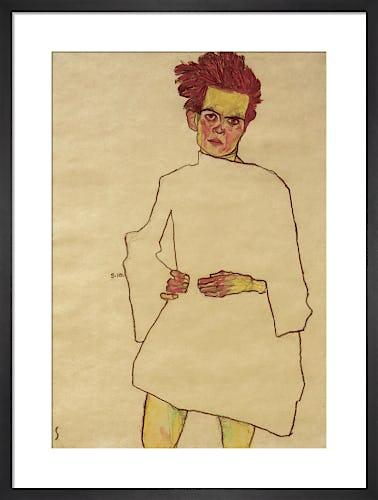 Self Portrait with White Shirt, 1910 by Egon Schiele