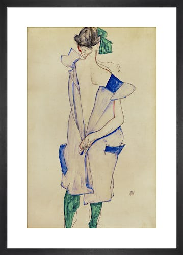 Standing girl in blue dress and green stockings, back view, 1913 by Egon Schiele