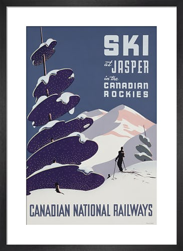 Ski at Jasper in the Canadian Rockies by Unknown artist