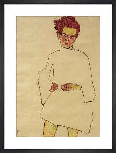 Self Portrait with White Shirt, 1910 by Egon Schiele