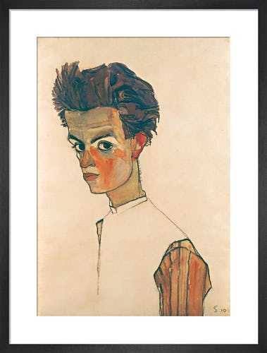 Self Portrait with Shirt, 1910 by Egon Schiele